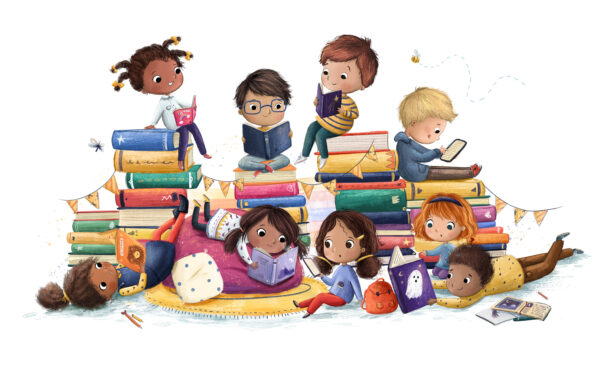 Image showing a diverse group of children reading