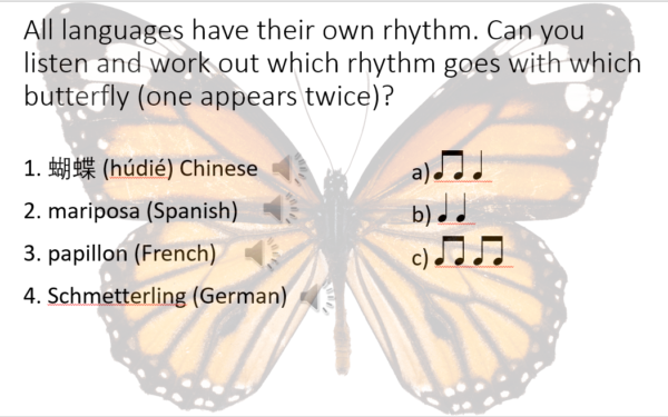A butterfly, superimposed with the word butterfly in multiple languages, and the rhythm notation for these words.